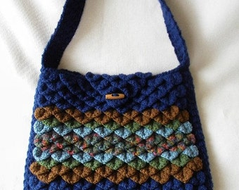 Crocheted Reversible Crocodile Stitch Handbag Shoulder Bag Blues and Browns