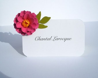 Wedding  -  ESCORT CARDS - Place Cards  - The Zinnia Paper Flowers - Assorted Color - set of 100 - Made To Order