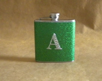Kelly Green or ANY Color Sparkly 6 oz. Stainless Steel Gift Flask with ANY Rhinestone Initial KR2D 6020