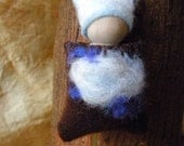 ON SALE, Waldorf Gnome, Waldorf Peg Doll, Air Element, blue, white, sky, clouds, Wind, pouch pal