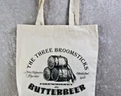 HARRY POTTER TOTE Bag - Butterbeer at the Three Broomsticks. Natural Cotton Flat Tote. Join Harry, Hermione & Ron at the Three Broomsticks