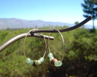 Jasper and Jade Hoop Earrings, Bohemian Stone Hoop Earrings