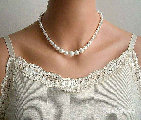Pearl Necklace Bridal Pearl Necklace Vintage Style By Casamoda