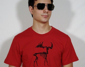 SALE Black Zombie Moose on a 100% Cotton Red T - Shirt - Available in S and XL