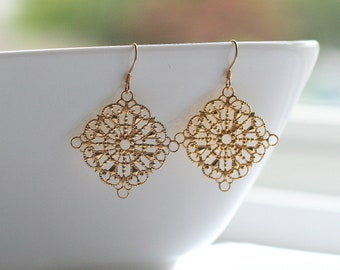 Gold filigree, diamond shape, dangle, earrings, gold or silver - DIAMOND FILIGREE