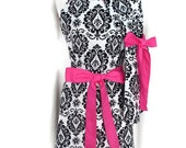 Black and White Damask Mommy and Me Matching Apron Set for Women Children Toddlers Baby - Mother Daughter Aprons Hot Pink Ties Personalized