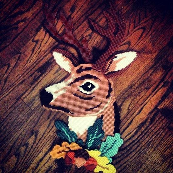 Items Similar To Vintage Deer Head Yarn Plastic Canvas