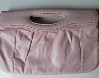 70s pastel pink clutch perfect for wedding Pink Purse bag Pastel pink light pink 70s clutch with reptile detail/ can be used as shoulderbag