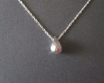 White Gold Faceted Drop Necklace