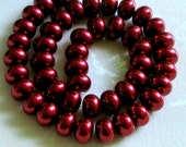 Glass Pearls True Red Rondelles 12 x 8 mm (16)