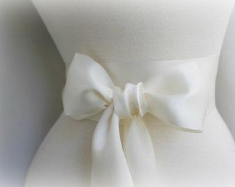 Antique Ivory Sash Belt  - 2 1/4in. - Double Faced Satin Ribbon Sash - Bridal Bridesmaids Sashes