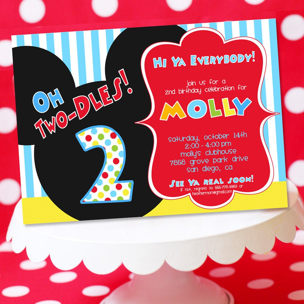 mickey mouse invitation thank you note by amandaspartiestogo