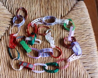 Christmas garlands, proceeds to charity, vintage ribbon and lace