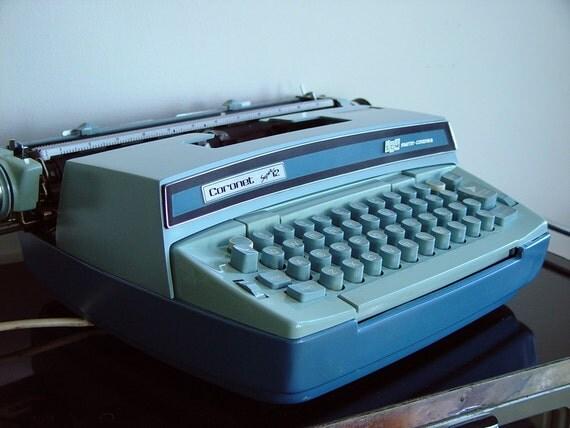 Blue 1960s Electric Typewriter Smith Corona Coronet Super 12 Vintage Portable Typewriter Two Tone Turquoise Model 6LEA