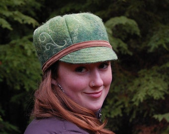 Spring Green Felted Hat - Merino and Silk
