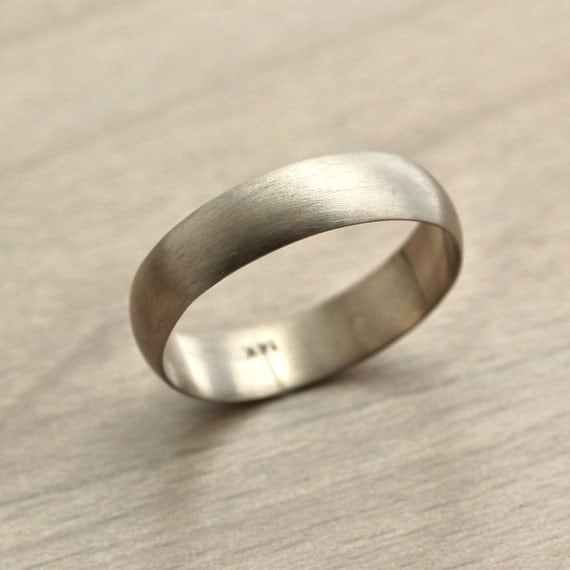 Men's White Gold Wedding Band, 5mm Half Round Recycled 14k Palladium White Gold Ring Brushed Band Groom -  Made to Order