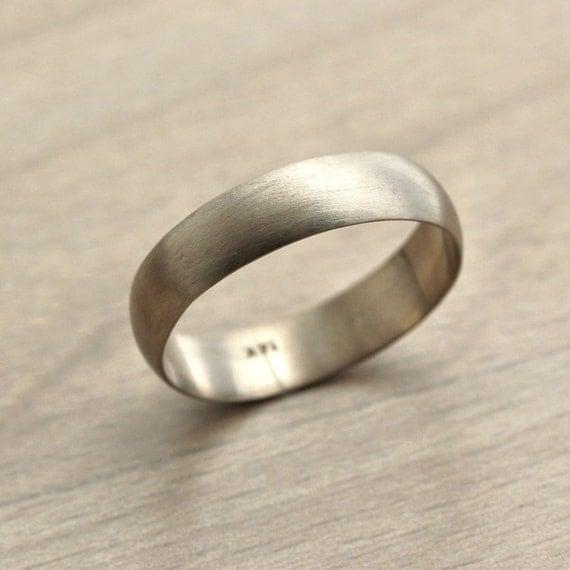 men 39 s white gold wedding band 5mm half round recycled 14k