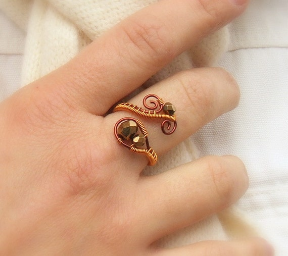 Bronze copper ring, metal colored glass ring, autumn colored jewelry