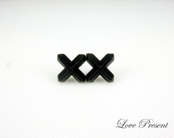 Black Friday Rock N Roll and Punk Cross earrings stud style - Color Soild Black Jet or Steel Grey - Choose your color