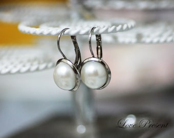 Bridesmaid Dangle Semi Pearl earrings - Choose your color