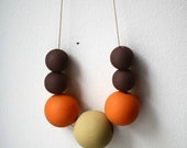 Pumpkin Spice Statement Necklace / Handpainted Wooden Beads / Tan, Orange and Brown / Fall Colors