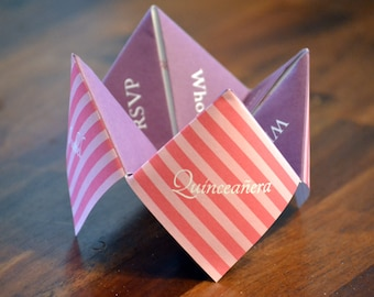 Quinceañera Invitation, Favor, Quinceanera Birthday, Party, Sweet Sixteen, Personalized, Custom, DIY, Printable, Cootie Catcher, Decoration