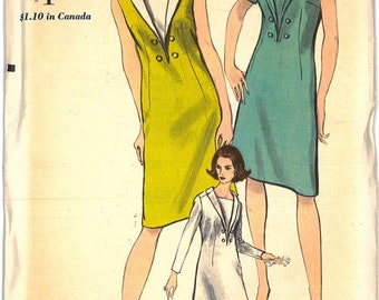 6482 UNCUT 1960's VogueWomen's Mod Dress Sewing Pattern Vogue 6482 Bust 36