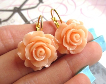 TRANSLUCENT PEACH // Large Rose Lever Back Earrings