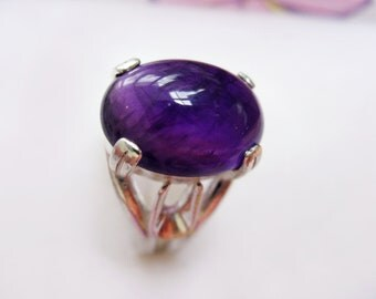 Beautiful Dark Violet Amethyst In Sterling Silver Coctail Ring 5.85ct. Size 6.75