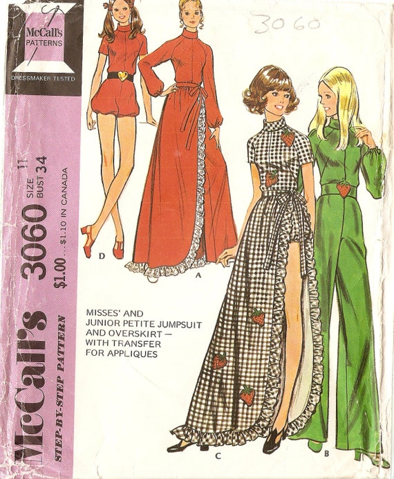 1970s Womens Jumpsuit Playsuit Pattern with long overskirt Vintage Sewing Pattern McCall's 3060 size 11 Bust 34