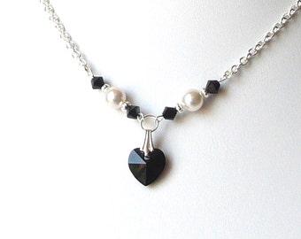 Pearl Flower Girl Necklace Black Crystal Heart Necklace IVORY OR WHITE Pearl Kids Jewelry Childrens Jewelry Dress Up Swarovski Jewelry