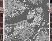 SALE CityFabric Boston Map Print Grey (Print-Bos-Gr-18-24)