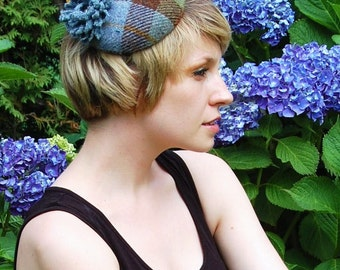 Cocktail hat - Sea Flower blue, yellow and green Harris tweed cocktail hat