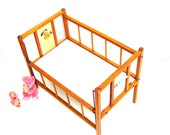 Vintage Toys Wooden Doll Bed Toy Baby Crib Oak Drop Side Crib Wood Child Furniture Nursery 1940s