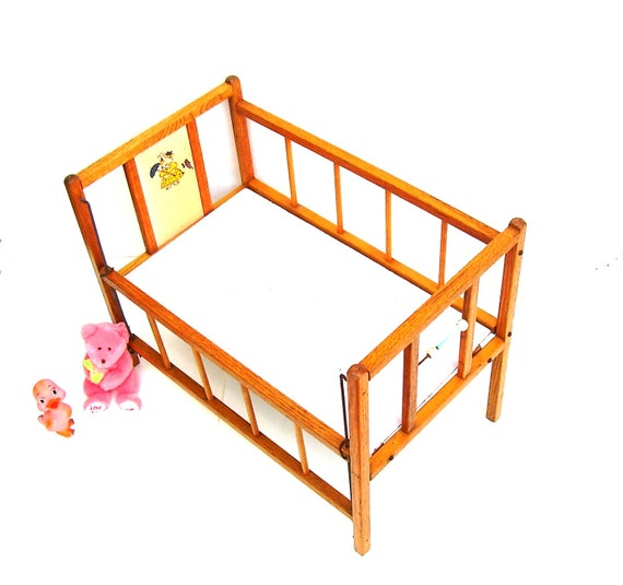 Vintage Toys Wooden Doll Bed Toy Baby Crib Oak Drop Side Crib