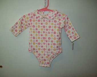 Onesie, Long Sleeves, Pink Print,  Only 2 left, Size Small 7 to 13 pounds, Ready to Ship, Clearance Sale