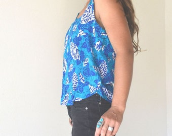 Turquoise Floral Tank Top Slouchy Early 90s Vintage Blue White Summer Top Small Medium