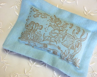 Lavender Sachet, Aquarium/ Fish -Under the Sea on Blue Linen (Gifts under 10 dollars/ Summer Gifts) -Fresh Dried Lavender