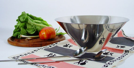 Mid Century Salad Bowl Set, by Gense of Sweden, Large Stainless Salad Bowl and Salad tongs for Thanksgiving