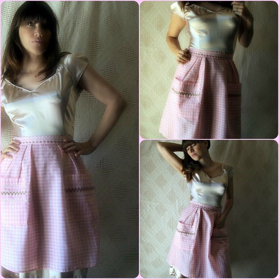 pastel pink gingham apron/ embroidered apron/ handmade accessories/ upcycled clothing