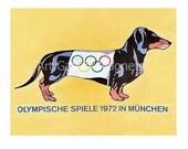 DACHSHUND OLYMPICS Munich German 1972 Moscow Vintage Art Print Magnet - VintageDachshundArt