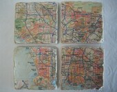 Coasters  - Map Coasters Custom Set -  Custom WEDDING Gift  Made for the Bride and Groom Set of 4 or 6