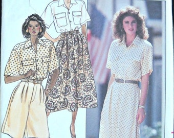 Butterick 6008, Women's Skirt, Shirt, and Shorts Pattern, Sizes 6, 8, 10, Vintage 1988