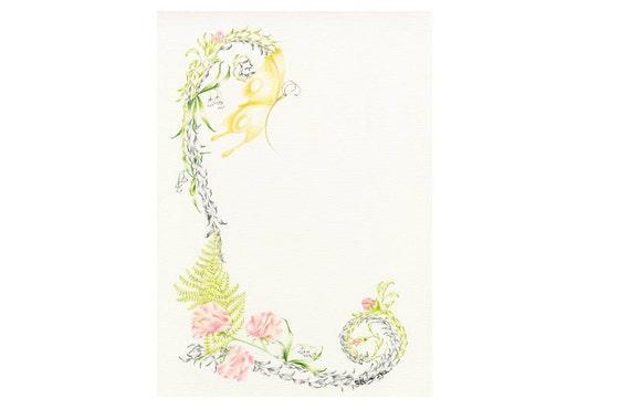 Personalized Art Custom Monogram Personalized Letter Custom Monogram Childrens Art Original Pencil Drawing Shabby Chic Home Decor