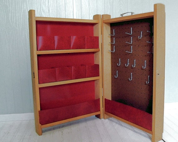 Vintage Red PegBoard & Wood Craft Center - Artisan Wooden Expanding Carry All - Mid Century Mod Shelving - Art Show Display