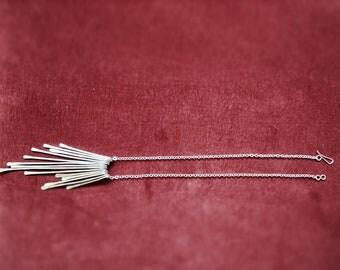 "Fringe Necklace / Long silver necklace / hammered silver metal statement necklace bib necklace hammered hand forged ""Zephyr"""