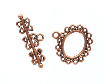 5 sets Copper Metal Fancy Toggle Clasps SCROLL fcl0063