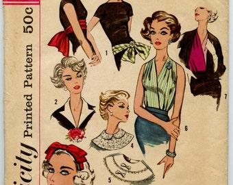 1950s Simplicity 2779 Vintage Sewing Pattern Neckwear, Headband, Dickey and Sash-Belt Accessory Pattern