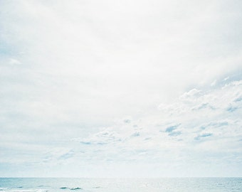 beach photograph nature photo fine art photography blue color ocean waves sky clouds minimalism relaxing wall decor