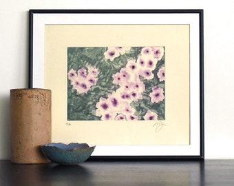 Original Engraving Print CLEMATIS GARDEN Flowers Monet Aquatint Monotype Printmaking Fine Art Wall Decor Print Pochoir 12x10